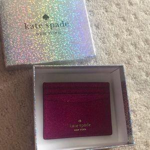 Kate spade sparkly card holder pink fushia